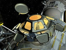 Artist's concept of Cupola mounted on the International Space Station.