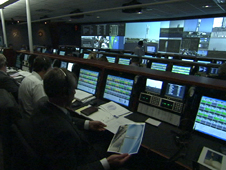 Launch controllers on console inside the Mission Director's Center