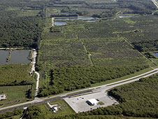 An aerial view of site on State Route 3 on KSC