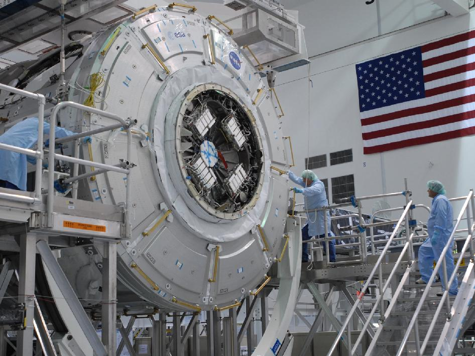 The Tranquility module in the Space Station Processing Facility.