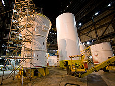 Ares l-X hardware in the VAB