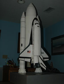 A hand-built model of a space shuttle.