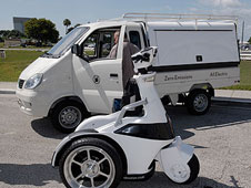 An electric truck and scooter.