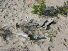 Missile parts scattered on the ground