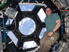 Mission Specialist Robert Behnken works inside the newly-installed cupola.