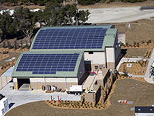 State-of-the-art solar arrays top the roof.