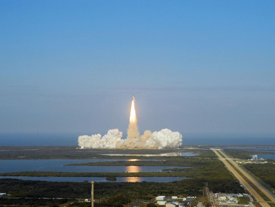 Discovery launches.