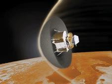 An artist conception for a regolith-derived heat shield depicted in a Mars-entry scenario for a human mission lander.