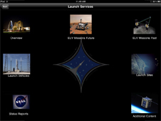 Main screen of Launch Services Program in NASA App