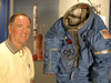Bob Crippen with a Manned Orbiting Laboratory spacesuit.