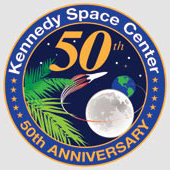 Drawing with moon, Earth, palm tree and rocket launching, and 50th set on a dark blue background with the words: Kennedy Space Center, 50th Anniversary.