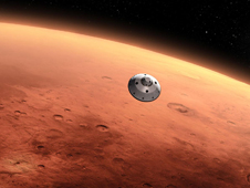 Artist's concept of the Mars Science Laboratory spacecraft approaching the Red Planet