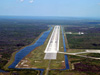 The runway at Kennedy's Shuttle Landing Facility as seen from the air.