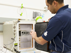 International Space Station experiment cryogenic freezer, called a Glacier unit