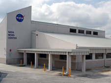 front of the Kennedy Space Center Newsroom