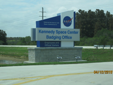 the sign in front of the Kennedy Space Center Badging Office
