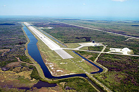An aerial view of the Shuttle Landing Facility at Kennedy Space Center, FL.