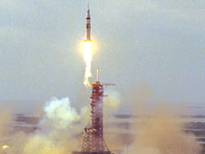 The Apollo lifts off on Apollo-Soyuz Test Project mission