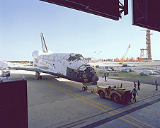 Space shuttle Columbia arrives at Kennedy for first time.