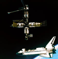 Shuttle Atlantis departs the Russian space station Mir.