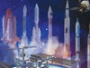 Throughout the past 50 years, NASA's Kennedy Space Center has carried on America's legacy of processing, testing and launching a wide array of rockets and spacecraft to distant planets and other destinations in space. Launch vehicles, from left, include the Atlas V, the space shuttle, the Delta, the Titan, Apollo's Saturn V, Gemini's Atlas-Agena and Mercury's Redstone. In the foreground are human destinations the center helped NASA reach, including Earth's orbit and the International Space Station. At the top right is NASA's newest spacecraft, the Orion multi-purpose crew vehicle, which will help humans explore deeper into space than ever before.
