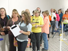 Teachers line up for supplies.