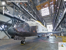 Space shuttle Atlantis in the Vehicle Assembly Building transfer aisle