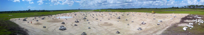 This panoramic view shows the Project Morpheus prototype lander's simulated planetary site built for testing Autonomous Landing and Hazard Avoidance Technology at Kennedy Space Center's Shuttle Landing Facility.