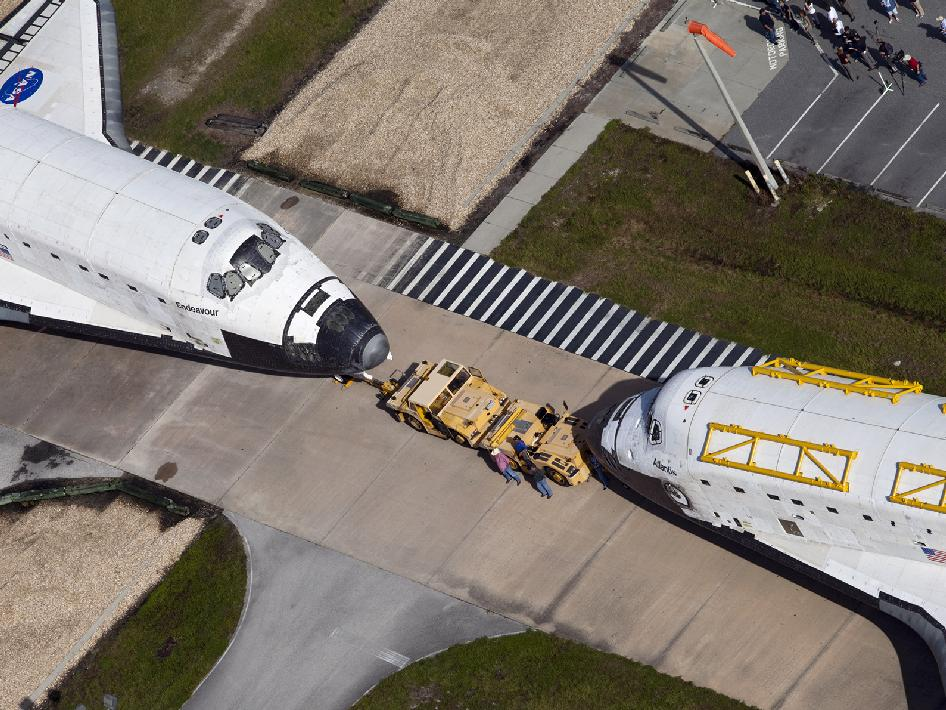 Shuttles Atlantis and Endeavour meet for the last time.