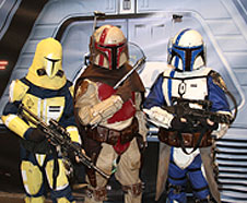 Star Wars fans dressed as Mandalorians