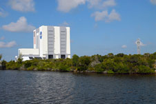 The VAB is seen from the Banana Creek
