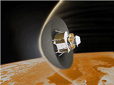 An artist concept of a spacecraft using a regolith heat shield