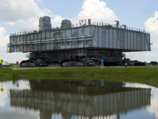 Mobile Launcher Platform-3 returns to the VAB after the launch of shuttle Atlantis on the STS-135 mission