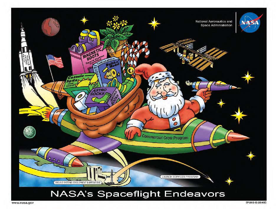 Santa Claus rides a spacecraft