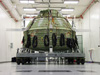 The Orion Exploration Flight Test 1 crew module undergoes proof pressure testing.