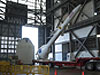 The Launch Abort System replica lifted in VAB