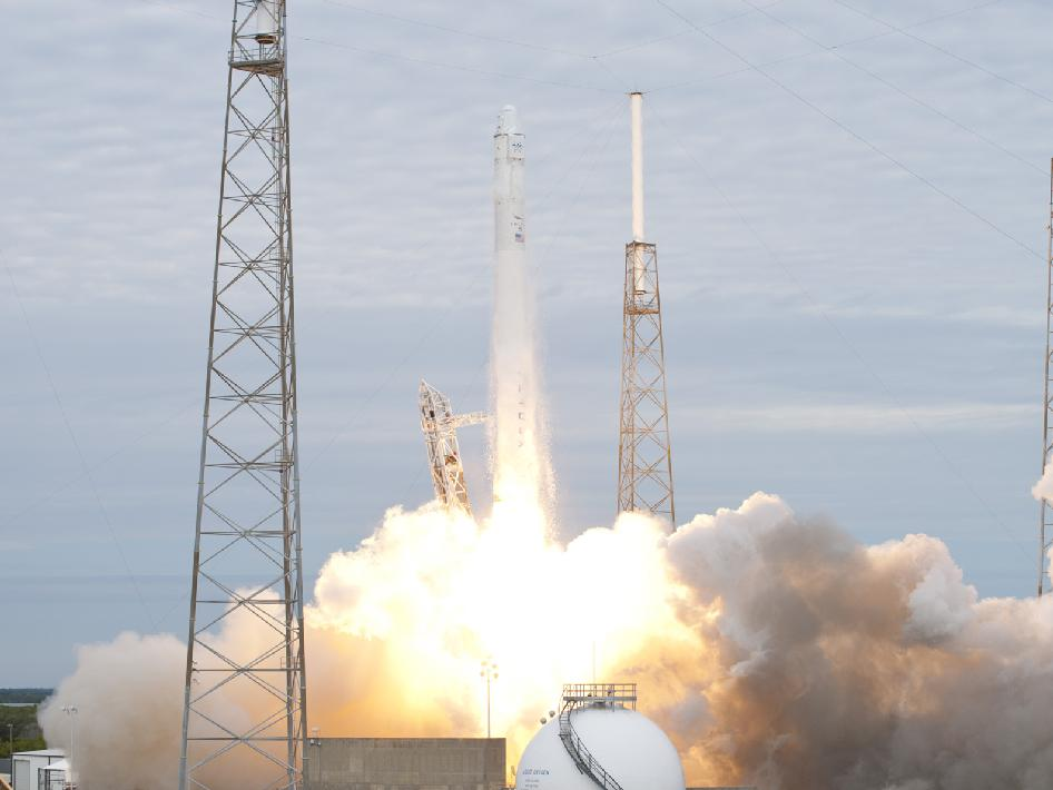 A SpaceX Falcon 9 rocket lifts off from Cape Canaveral Air Force Station in Florida