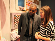 Actor LaVar Burton with a student.