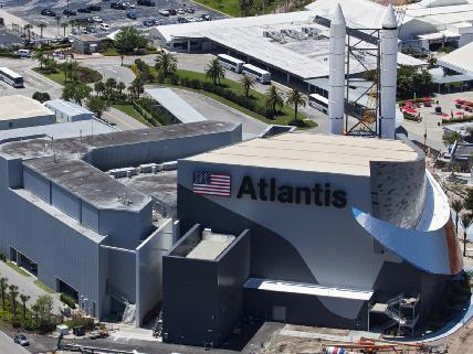 An aerial view of the new Atlantis exhibit at the Kennedy Space Center Visitor Complex