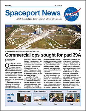 first page of Spaceport News dated May 17, 2013