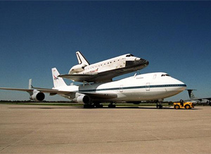 Atlantis atop the Shuttle Carrier Aircraft