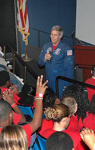 Astronaut John Blaha spoke to the students attending Brevard Space Week.