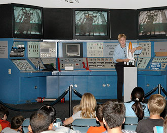 Students receive a Space Shuttle Return to Flight briefing at the Visitor Complex during Space Week.