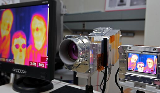 Infrared camera developed by Langley to examine the leading edge of the Shuttle's wings for subsurface damage