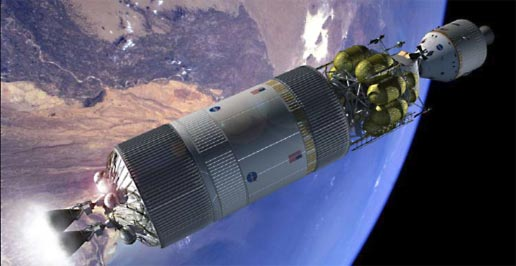 Artist concept of crew exploration vehicle docked with lander and departure stage in earth orbit.