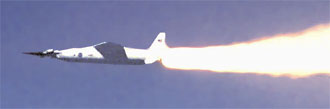 Pegasus booster rocket ignites, accelerating the X-43A -- mounted on the nose of the rocket -- over the Pacific Ocean in March 2004