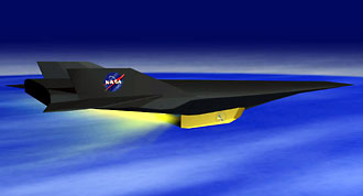 Still image of the Hyper-X vehicle in flight, taken from an artist's animation