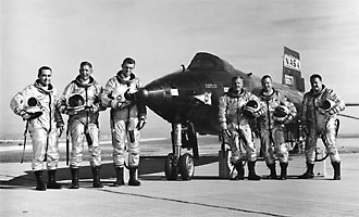 Six pilots pose with the X-15