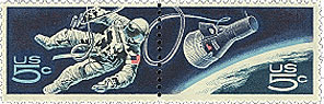 the U.S. Postal Service's stamp commemorating the gemini project.