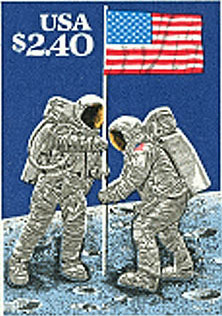 U.S. Postal stamp commemorating the 20th anniversary of the moon landing.